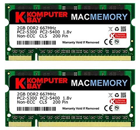 Komputerbay MACMEMORY Apple 4GB Kit (2x 2GB) PC2-5300 667MHz DDR2 SODIMM for iMac and Macbook Memory