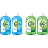Dettol Disinfectant Liquid (Menthol Cool) - 500 ml (Pack of 2) & Dettol Disinfectant Cleaner for Home, Lime Fresh – 500 ml(Pa