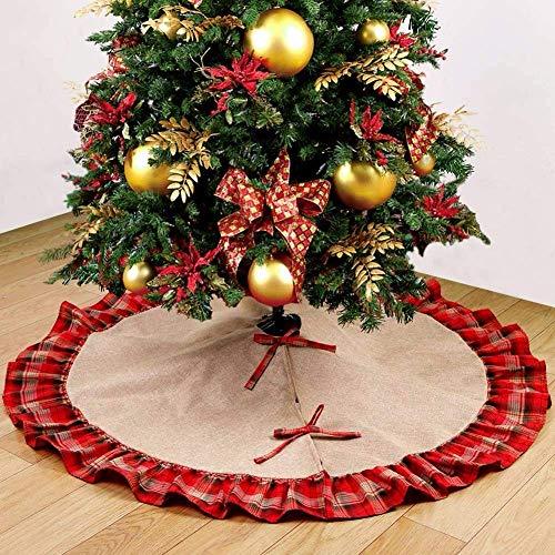 (Deggodech Jute Leinen Weihnachtsbaum Rock 48zoll/122cm Groß Weihnachtsbaumdecke Rot und Schwarz Plaid Rüschen Weihnachtsbaum Röcke Ornaments für Weihnachten Baum Rock Deko Weihnachtsdekoration)