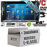 Mercedes E-Klasse W211 - Autoradio Radio JVC KW-V235DBTE - DVD | Bluetooth | DAB+ | CD | MP3 | USB | Android | iPhone | 2-Din - Einbauzubehör - Einbauset
