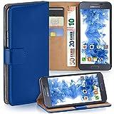 moex Samsung Galaxy Alpha | Hülle Blau mit Karten-Fach 360° Book Klapp-Hülle Handytasche Kunst-Leder Handyhülle für Samsung Galaxy Alpha Case Flip Cover Schutzhülle Tasche