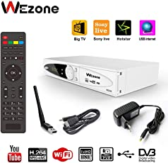 Wezone 8009 DVB-S2 Satellite TV Receiver Set Top Box [with HD Cable & Wifi Dongle ] HD H264 support PVR and playback via USB, Support Internet from Mobile, Support Free to Air Channels, 2 USB Ports, with 1-Year Service (8009)