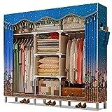 NZ-Wardrobe Tuch Kleiderschrank Oxford Tuch, Fett Stahlrohr 3 4 Menschen Große Größe Hängende Kleidung Organizer Lagerung Tragbarer Schrank für Kleidung, 66x17x69 Zoll