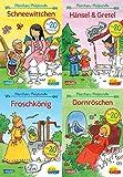 Pixi kreativ 4er-Set 19: Meine Märchen-Malstunde mit Stickern (4x1 Exemplar): Schneewittchen, Rapunzel, Hänsel und Gretel, Dornröschen