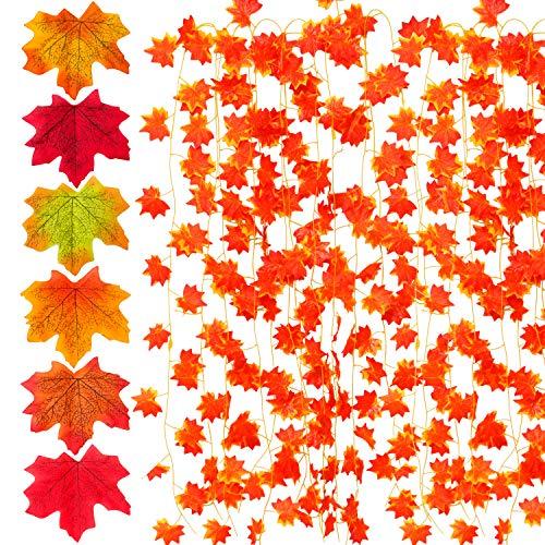 Elcoho Künstliche Ahornblatt-Girlande, 6 Stück und 300 Stück, 6 Farben, künstliche Ahornblätter, für Hochzeiten, Weihnachten, Party-Dekorationen