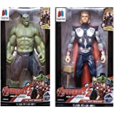 GRAPPLE DEALS Combo Of 2 Avengers Action Figure Toy For Kids. (Thor-Hulk)