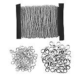 Homgaty 10Meter Kabel Gliederkette Edelstahl Halskette mit 20Karabinerverschlüsse und 30Jump Ringe für Männer oder Frauen Schmuck Kette DIY machen, (1,5mm)