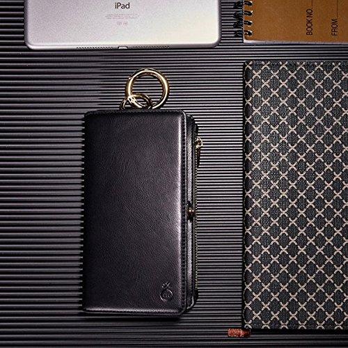 Inovey Per Iphone 6 6S 4.7 Pollici 2 In 1 Multi-Slot Pu In Pelle Staccabile Con Cerniera Portafoglio Kickstand Case - Brown Nero
