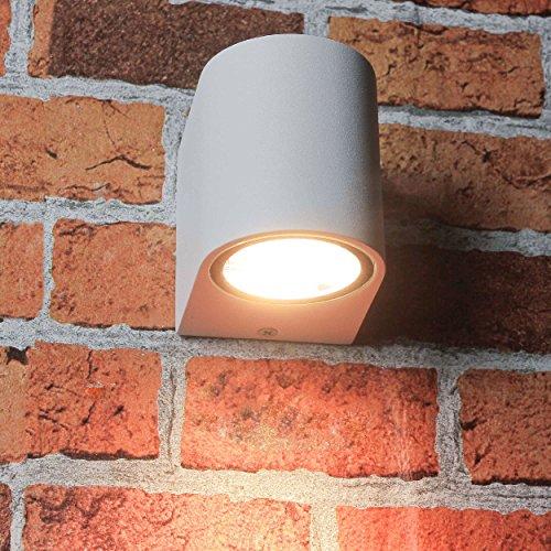 Kompakter Downstrahler Außenleuchte für die Wand in weiß Gu10 Strahler Wandlampe Außenlampe Beleuchtung Hof und Garten