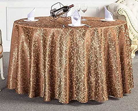 LikeYou Modern Design Jacquard Table Cloth Leaves Pattern Round Table Cover Polyester Durable for Lavish Celeberation Modern Design Jacquard Table Cloth Leaves Pattern Round Table Cover Polyester Durable for Lavish Celeberation (120 Inch Round, Light Coffee)
