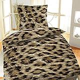 Bertels Textilhandels GmbH Mikrofaser Bettwäsche 135x200 2-teilig Afrika Braun Leopard