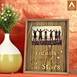 "[Sponsored]Archies Laser Cut Alphabets""Friends Are Like Stars"" On Grey-Brown Wooden Photo Frame With Led Light For Decoration"