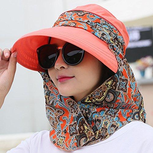 Upper-Maison de vacances Beach Hat pare-soleil pare-soleil visage d'été vélo outdoor chapeau de soleil pliant Watermelon Red