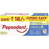 Pepsodent Germicheck 8 Actions, Whole Mouth Toothpaste With Anti-Germ Formula, Clove And Neem Oil, 300 g Jumbo Save Pack