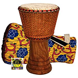 "MUSIKID Pack Grand Djembe – Vrai Grand Djembé traditionnel 14"" x 24"" (35x 60 cm) + Sac + méthode DVD Djembe Player (Unesco – Français – English – Espanol)"