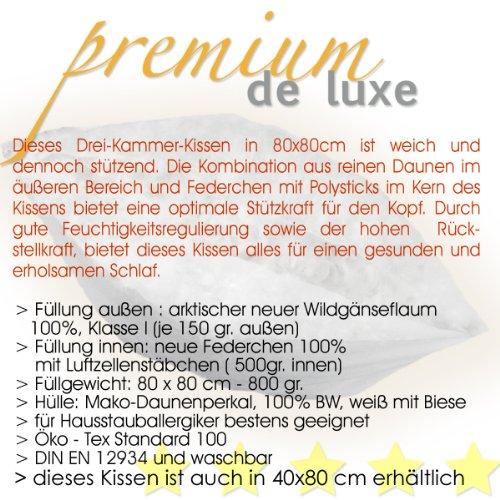 Premium de Luxe975.22.001 Daunen Dreikammerkissen (80×80 cm, Gänseflaum, 800 gr) - 4