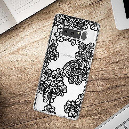 Coque Samsung Galaxy note 8 Pacyer® Housse Mandala Coque Silicone Motif Ultra Mince Premium TPU Dentelle Fleur Imprimé Bumper Anti Choc 5
