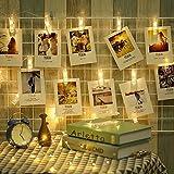LED Foto Clip Lichterkette Warmweiß - ELINKUME 2,2M 20 LEDs Foto-clips Batteriebetriebene Stimmungsbeleuchtung Dekoration für Valentinstag, Weihnachten, Geburtstag, Party