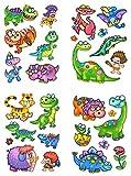 dpr. Fensterbilder Set 27-tlg. für Kinder Dinosaurier Tiere Dino fleischfressende Pflanze Flugsaurier Blume Schmetterling Säbelzahntiger Fenstersticker Aufkleber Fensterdekoration
