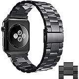 Simpeak Bracelet Compatible avec Apple Watch 42mm Métal Fermoir en Acier Inoxydable Bande de Remplacement pour Apple iWatch Series 4, Series 3, Series 2, Series 1, 42mm/44mm - Noir