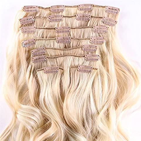 hair2heart Clip in Extensions - 60cm länge - 130g Haargewicht - 8 teilig - gewellt - Haarteil, optisch wie Echthaar - N-22/613