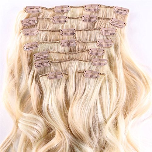 Hair2heart clip in extensions–lunghezza 60cm–peso 130g capelli–8pezzi–ondulato–capelli adattatore, ottico come vera capelli–n 22/613