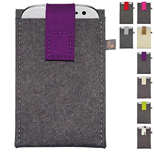 ebos Handytasche XL aus Filz ✓100% Wollfilz ✓ Schutzhülle für Handys XL, Smartphones XL | mit Klett-Verschluss | für Iphone 6/6s, Samsung Galaxy S4/S3, HTC One X/XL/X Plus, uvm. (Lila)