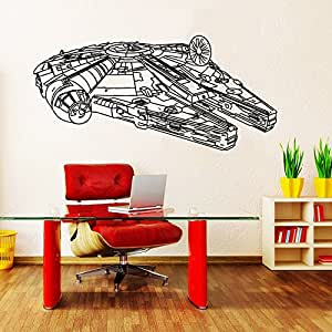wandtattoo star wars logo millenium falcon fighter raumschiff krieg der sterne fototapete vinyl. Black Bedroom Furniture Sets. Home Design Ideas