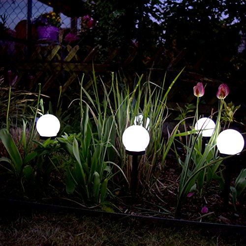 (759) 6 x LED Solar Kugel Leuchte Ø10 cm Außen Lampe Garten Weg