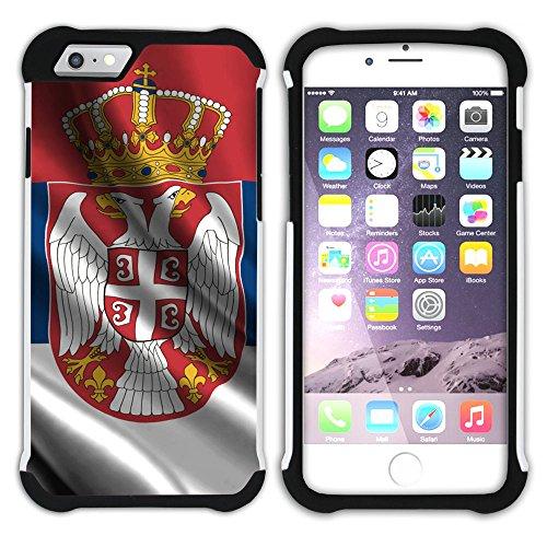 Graphic4You Serbien Serbisch Flagge Hart + Weiche Kratzfeste Hülle Case Schale Tasche Schutzhülle für Apple iPhone 6 Plus / 6S Plus Design #3