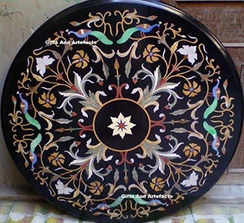 Gifts And Artefacts 106,7cm Durchmesser Schwarz Marmor Sofa Center Tisch Top Einlegearbeiten Kunst mit Floral Design - Marmor Top Sofa Tisch