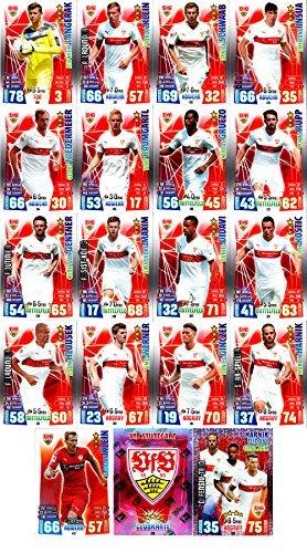 Match Attax Bundesliga 2015 2016 - Karten-Set VfB Stuttgart Cap Offensiv-Trio Teamlogo - Deutsch (2015 Topps Fußball Karten)