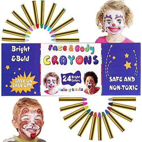 Tacobear 24 Farben Kinderschminke Schminkstifte Face Paint ungiftig waschbar Schminkfarbe Gesichtsfarben Kinder Schminkset für Party Schablonen Halloween Fasching
