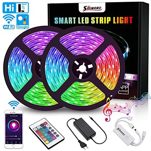 LED Streifen 10M, RGB LED Stripes WiFi LED Bänder 16 Millionen Farben, Weihnachten Sync mit Musik, SMD5050 IP65 mit Fernbedienung, steuerbar via App, Kompatibel mit Alexa, Google Home, IFTTT, SOLMORE