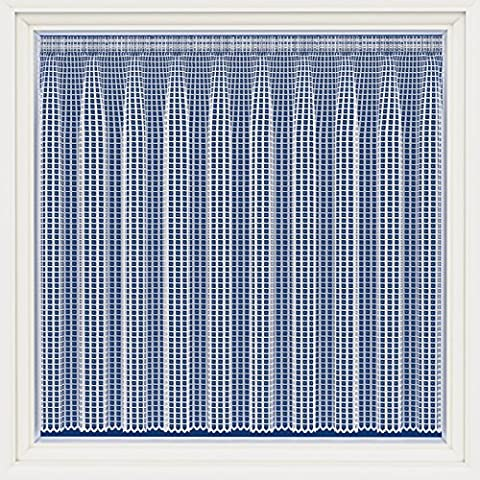 Trafalgar Square White Net Curtian, Sold By The Metre Modern Square Lattice Design 54