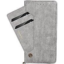 Funda cartera de iPhone X/6/6S/7/7Plus/Samsung Galaxy 7/S7/S8/S8 Plus con una solapa para llevar tarjeta de credito y dinero