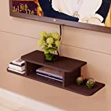 ANTICO WOODENIA Wooden Dual Length Set top Box Wall Shelf| Wall Mount| Wall Bracket (Brown)