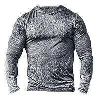 palglg Men's Bodybuilding Tapered Long-Sleeve Slim Fit Sweatshirts Active Hoodies Heather Grey 3XL