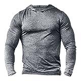 Alivebody Herren Bodybuilding Tapered Langarm Slim Fit Sweat-Shirt Muskel Hoodie Heather Grau 3XL
