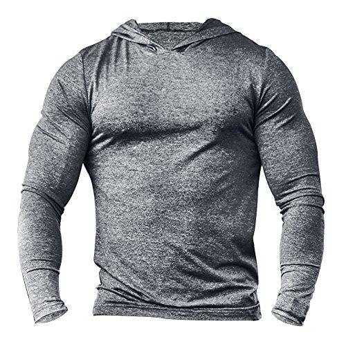Alivebody Herren Bodybuilding Tapered Langarm Slim Fit Sweat-Shirt Muskel Hoodie Grau meliert M (Langarm-ausbildung Leichtes)
