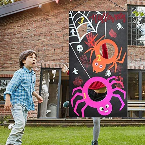 Krystallove Halloween-Wurfspiele mit 3 Sitzsäcken, lustiges Halloween-Spiel für Kinder und Erwachsene bei Halloween-Partyaktivitäten, großartige Halloween-Dekorationen