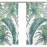 Jstel 2pièces, Rideau de fenêtre en voile, Feuilles de palmier tropical élégantes, rideau en tulle pure, 139,7x 198,1cm, ensemble à deux pans.