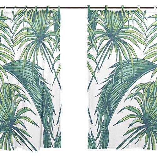Jstel 2pezzi voile finestra tenda, elegante foglie di palma tropicale, tulle sheer tenda mantovana 139,7x 198,1cm due pannelli set