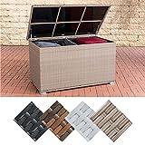 CLP Polyrattan-Aufbewahrungsbox Safe I Gartentruhe für Kissen und Auflagen I In Verschiedenen Farben erhältlich Natura