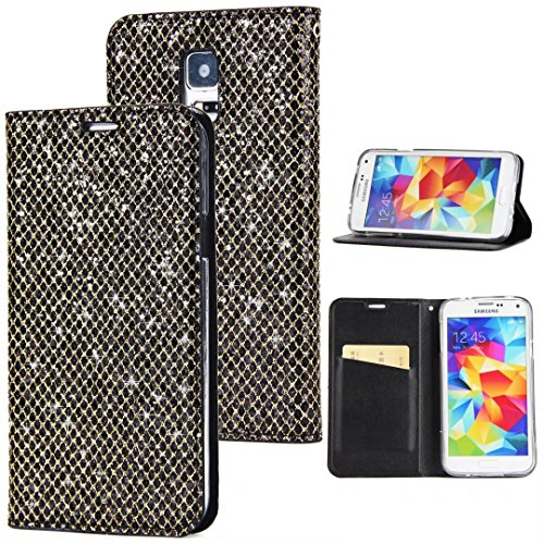 Sycode Coque Galaxy S5,Full Protection Etui Coque Galaxy S5,Luxe Bling Glitter PU Cuir Bling Cristal Brillant Glitter Sparkle avec Support de Stand et Cartes Slots Fermeture Magnétique Bookstyle Cover Case Multifonctionnel Shell Bumper pour Samsung Galaxy S5-Noir