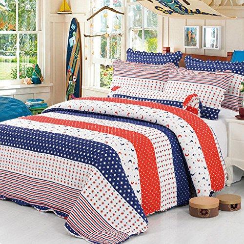 Alicemall Tagesdecke Baumwolle Bettüberwurf 150x200cm Sofa Couch Überwurf Decke Sommerdecke Gesteppt Steppdecke - Sterne Mond (Sterne Und Mond Bettdecke)