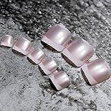 echiq 24Pearl Pink Klassische Französische Nägel für Fuß Acryl False Fake Künstliche Pre entworfen Zehen Nägel Tipps für Sommer Decor