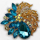 """Elixir 77 UK NEW 2.5"""" LARGE GOLD Colour FLOWER BROOCH with light BLUE DIAMANTE RHINESTONE CRYSTALS WEDDING BRIDAL PARTY BROACH"""