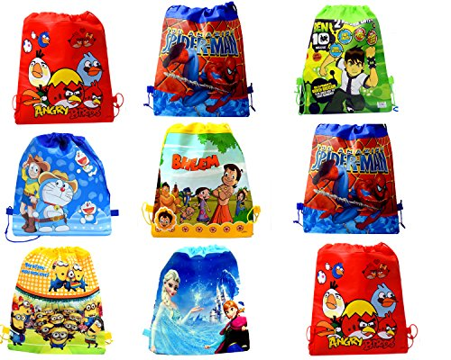 Cartoon Printed Haversack Bag For Kids Birthday Party Return Gift(Pack of 12)