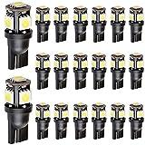 EverBright 20er-Packung weißer5-SMD-LED-Lampen vom Typ T10,194,168,2825,158,W5W, 5050 für Auto (Ersatzlampe für Handschuhfach, Kofferraum, Sidemarker)